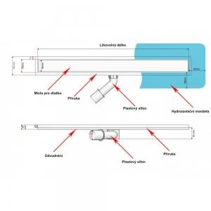 Sprchový odvodňovací žláb Silver pro obklad 900 mm
