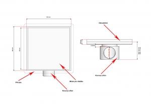 Podlahová vpusť 100x100 pro obklad, nerezový sifon