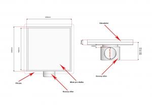 Podlahová vpusť 200x200 pro obklad, nerezový sifon