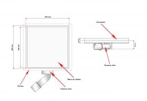 Podlahová vpusť 200x200 pro obklad, plastový sifon